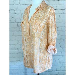 Splendid Orange & White Print Pullover Blouse